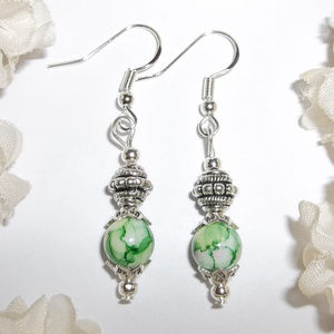 Green Earring Set Handmade Marbled Design NWT 4590